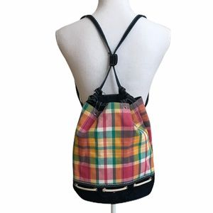 Tommy Hilfiger plaid convertible bucket backpack